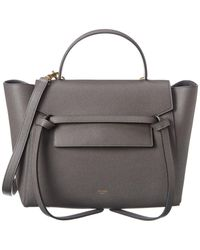 Celine Mini Belt Bag Leather Tote - Grey