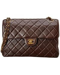 Chanel Brown Quilted Lambskin Leather Jumbo Double Flap Bag