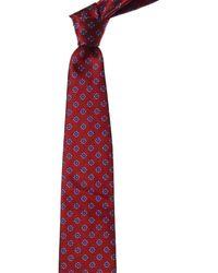 Ermenegildo Zegna Red & Blue Squares Silk Tie