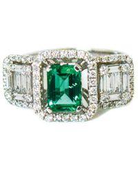 Arthur Marder Fine Jewelry 18k 1.65 Ct. Tw. Diamond & Emerald Ring - Green