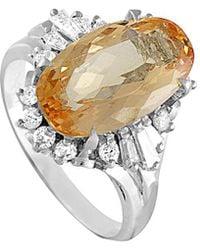 Heritage Platinum 5.19 Ct. Tw. Diamond & Topaz Ring - Metallic