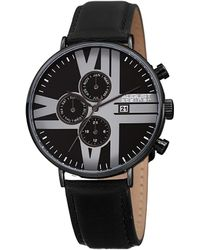August Steiner Leather Watch - Black