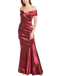 Teri Jon By Rickie Freeman Off-the-shoulder Satin Gown - Red