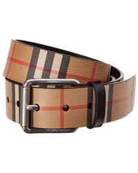 Burberry Vintage Check Leather Belt - Black