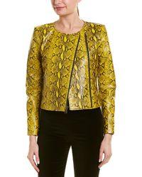 Alice + Olivia Stanton Leather Jacket - Yellow