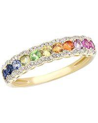 Diana M. Jewels . Fine Jewellery 14k 0.83 Ct. Tw. Diamond & Sapphire Ring - Metallic