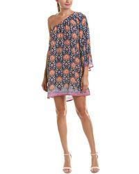 Tolani One-shoulder Silk Shift Dress - Blue