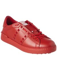 Valentino Studded Leather Trainer - Red