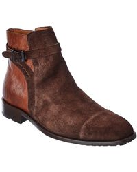 Mezlan Suede & Leather Boot - Brown