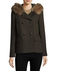 Kate Spade Faux Fur-trimmed Double-breasted Coat - Green