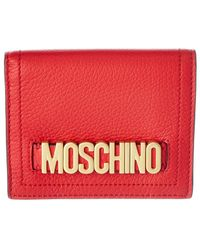 Moschino Logo Leather Compact Wallet - Red