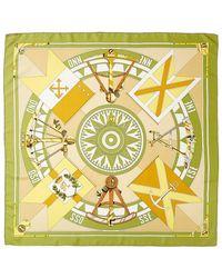 "Hermès ""sextants,"" By Loic Dubigeon Silk Scarf - Green"
