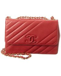 Chanel Red Quilted Caviar Leather Jumbo Single Flap Bag