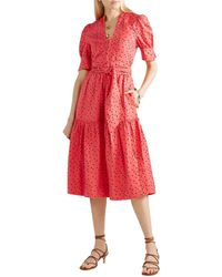 Rebecca Vallance Holliday Linen-blend Dress - Red