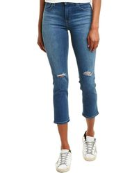 J Brand Ruby High-rise Catch Destruct Cigarette Crop - Blue