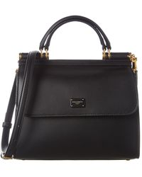 Dolce & Gabbana Sicily 58 Small Leather Satchel - Black