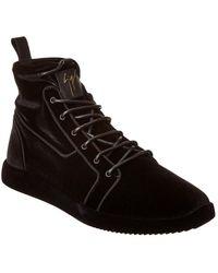 Giuseppe Zanotti Velvet High-top Sneaker - Black