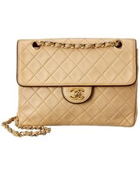 Chanel Beige Quilted Lambskin Leather Small Single Half Flap Bag - Natural