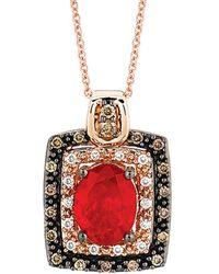 Le Vian ? 14k Rose Gold 1.27 Ct. Tw. Diamond & Fire Opal Necklace - Red