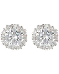Adornia Sterling Silver Swarovski Crystal Halo Stud Earrings