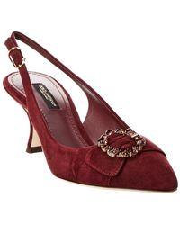 Dolce & Gabbana Bellucci Suede Slingback Pump - Red
