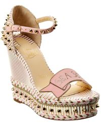 Christian Louboutin Studded Wedge Suede Sandal - Pink