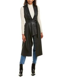 BCBGMAXAZRIA Wrap Panel Long Vest - Black