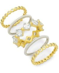 Freida Rothman - Cubic Zirconia & Sterling Silver Eternity Stackable Ring Set - Lyst
