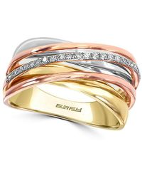 Effy - Diamond And 14k Gold Crisscross Ring, 0.11 Tcw - Lyst