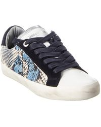 Zadig & Voltaire Used Painted Snake-embossed Leather & Suede Trainer - White