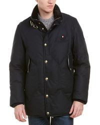 Moncler Gamme Bleu Classic Fitted Wool-blend Down Coat - Blue