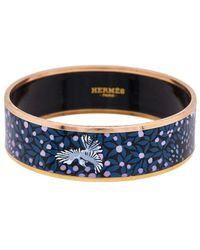 Hermès Palladium Printed Enamel Wide Bangle Xs - Blue