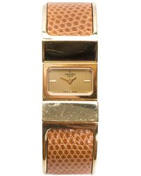 Hermès Gold-plated Brown Leather Loquet Bangle Watch - Metallic
