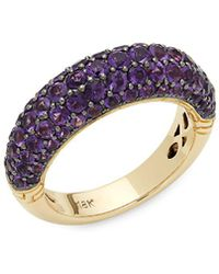 John Hardy - Pavé Amethyst And 18k Yellow Gold Classic Band Ring - Lyst