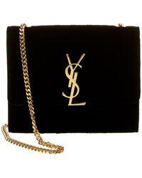Saint Laurent Mini Vicky Velvet Shoulder Bag - Black