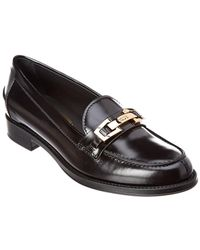 Tod's Buckled Penny Bar Leather Loafer - Black