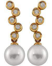 Splendid 14k 0.20 Ct. Tw. Diamond & 7-7.5mm Akoya Pearl Drop Earrings - Metallic