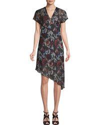 Anna Sui Asymmetric Floral Shift Dress - Black