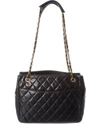 Chanel Black Quilted Lambskin Leather Chain Cc Tote