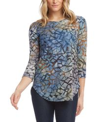 Karen Kane Tie-dye Burnout Shirttail Top - Blue
