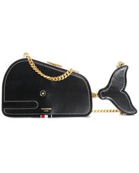 Thom Browne Black Leather Whale Icon Clutch