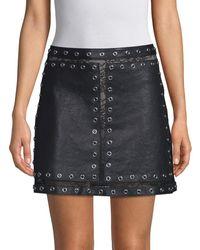 Alice + Olivia Alice + Olivia Riley Studded Leather And Lace Mini Skirt - Black