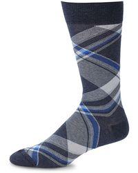 Saks Fifth Avenue Chequered Crew Socks - Blue