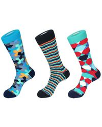 Unsimply Stitched Set Of 3 Crew Sock - Blue