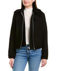 Helmut Lang Tweed Leather -trim Wool-blend Bomber Jacket - Black