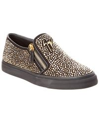 Giuseppe Zanotti Embellished Leather Slip-on Trainer - Black