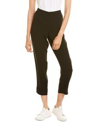 Eileen Fisher Tapered Silk Pant - Black