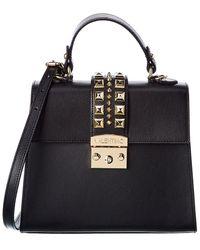 Valentino By Mario Valentino Cleo Palmellato Leather Satchel - Black
