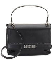 Moschino Leather Flap Satchel - Black