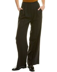 Vince Wide Leg Pull-on Wool-blend Pant - Black